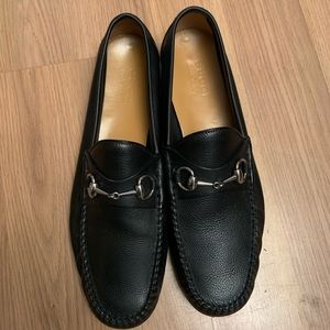 Black Leather Gucci Loafers Size 10.5